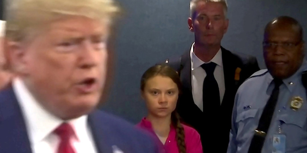 Greta Thunberg lanza 'una mirada que mata' a Donald Trump tras arremeter contra los líderes globales por su inacción frente al cambio climático